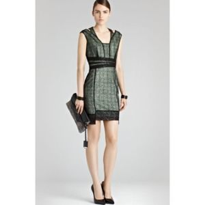 Reiss Green Tali Sparkle Dress